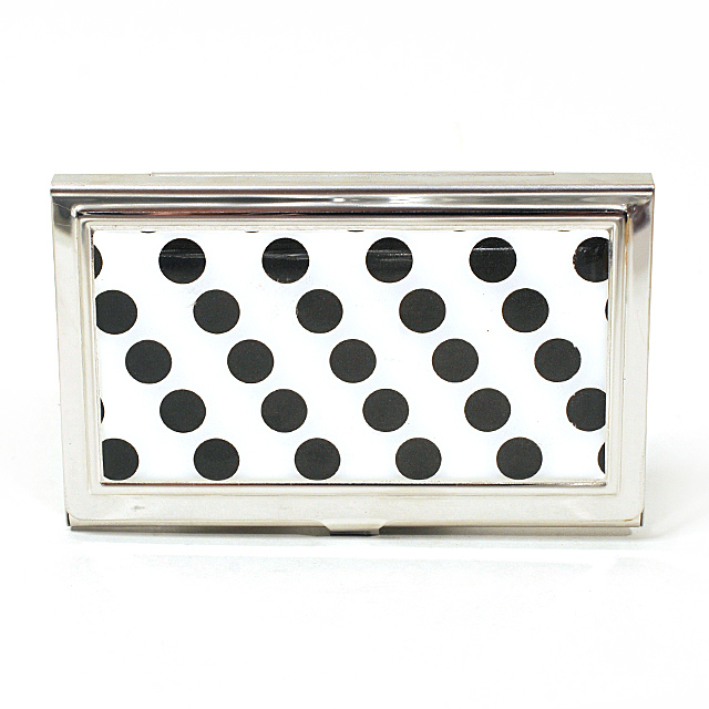 Card Holder High Polish Chrome Metal Black Polka Dots on White