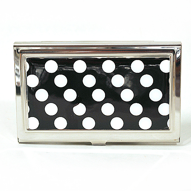 Card Holder High Polish Chrome Metal White Polka Dots on Black