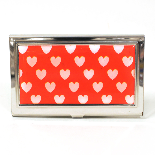 Card Holder High Polish Chrome Metal White Hearts on Red