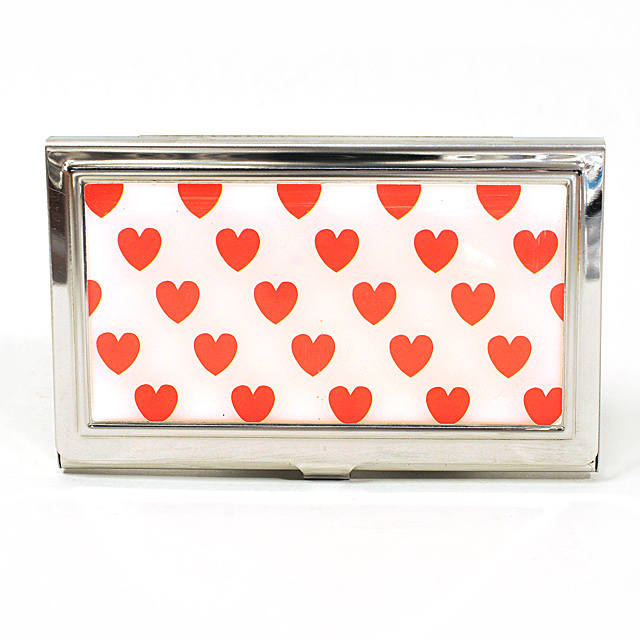 Card Holder High Polish Chrome Metal Red Hearts on White