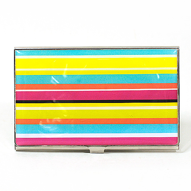 Card Holder High Polish Chrome Metal with Coloured Stripes