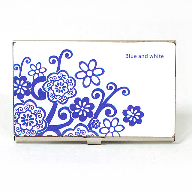 Card Holder High Polish Chrome Metal with Blue Flowers II
