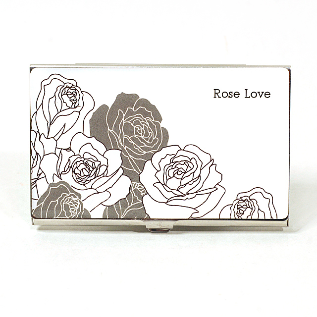 Card Holder High Polish Chrome Metal with Roses Outline