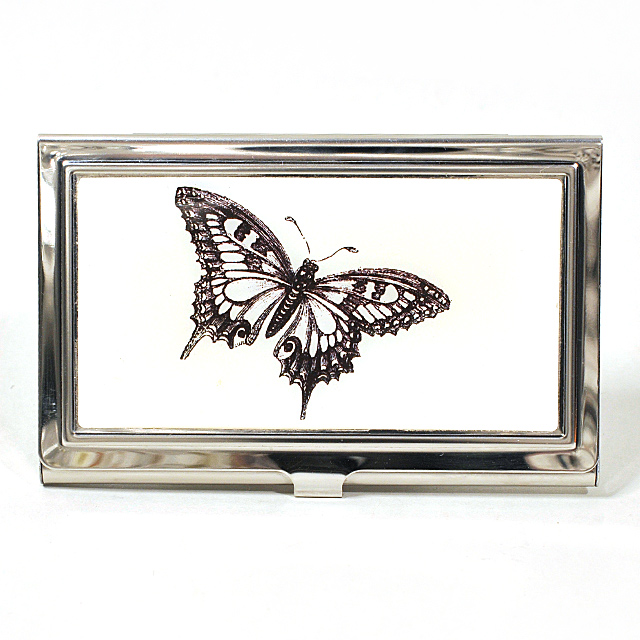 Card Holder High Polish Chrome Metal with Butterfly Outline on Cream