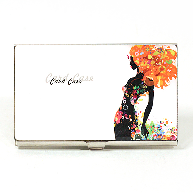 Card Holder High Polish Chrome Metal with Coloured Image of a Girl