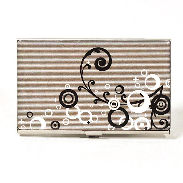 Card Holder High Polish Chrome Metal with Black and White Pattern on Grey Stripe Background