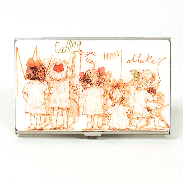 Card Holder High Polish Chrome Metal with Sketch of Little Girls