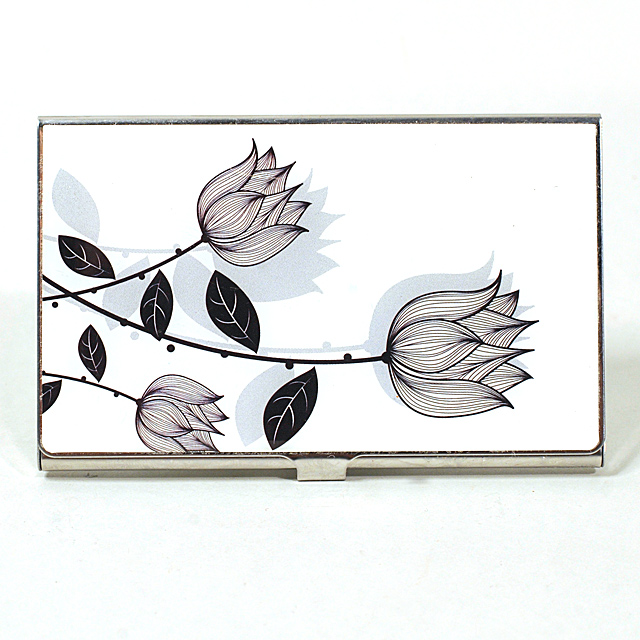 Card Holder High Polish Chrome Metal with Black and White Flowers
