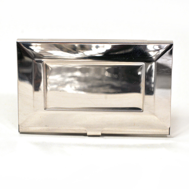 Card Holder High Polish Chrome Metal with Inset Panel