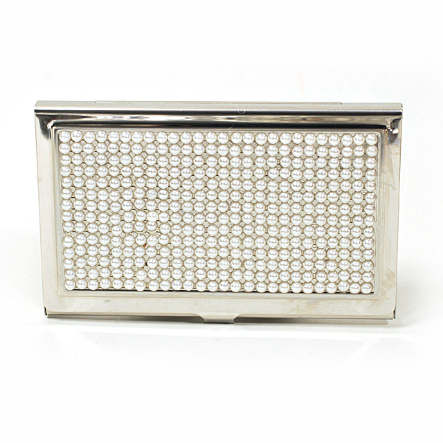 Card Holder High Polish Chrome Metal Pearl Beads Inset (Misaligned)