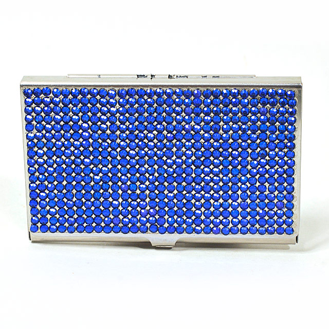 Card Holder High Polish Chrome Metal Blue Beads
