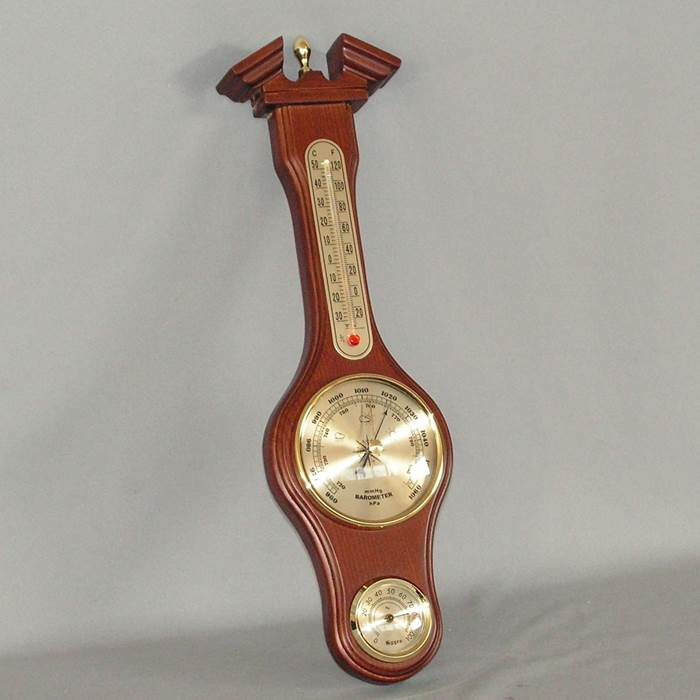 Barometer With Thermometer And Hygrometer (3/4 Size) (Rimu)