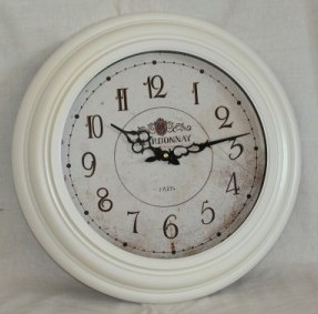 White Chardonnay Clock with Glass (43cm Diameter)