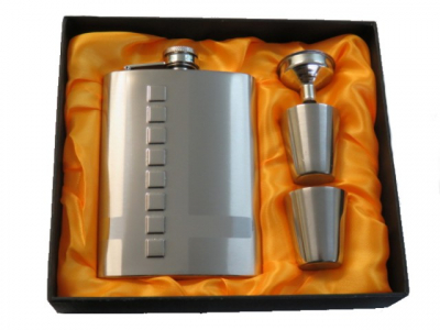 Hip Flask Satin Chrome Gift Set - 8oz with 2 Satin Chrome Cups and Filler