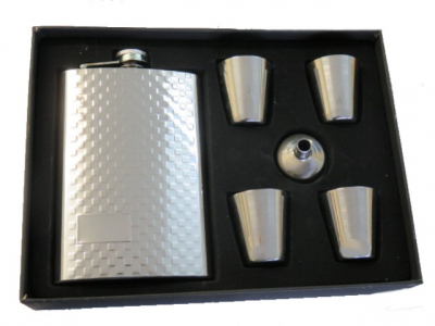 Hip Flask High Polish Chrome Gift Set - 9 oz Checked Pattern with 4 Plain Chrome Cups and Filler