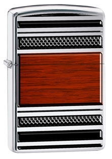 Zippo Pipe Lighter - Sophisticated High Polish Chrome and Wood Veneer