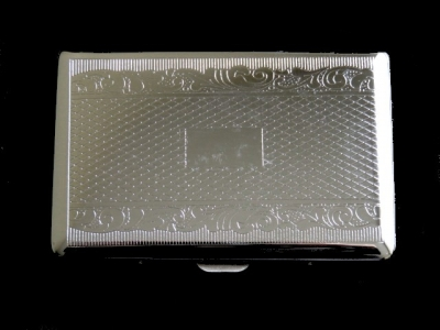 Cigarette Case Metal - High Polish Chrome - Medium Size - Mesh Pattern and Scrolled Border