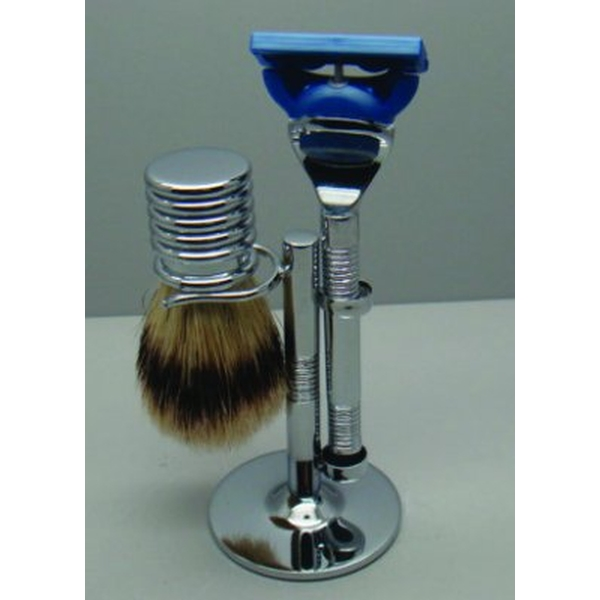 Comoy 3025  Bristle Shaving Set Chrome (Gillette Fusion Blade)