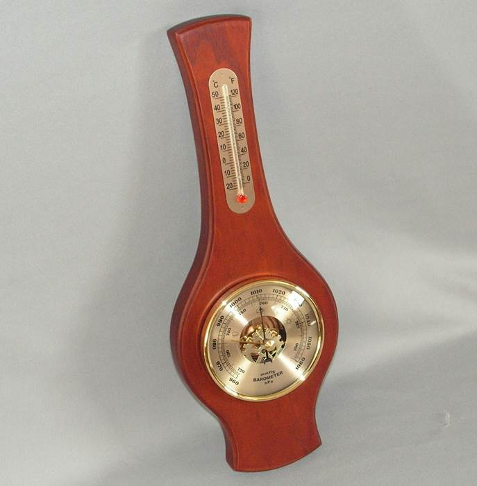 Barometer and Thermometer (Small) (Mahogany Stain)