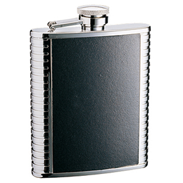 Hip Flask Artex Black Leatherette Panel - 6oz with Ribbed Edges.