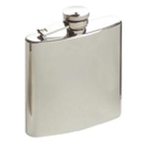 Hip Flask Artex Plain Brushed Chrome Finish in Centre Panel- 6oz.