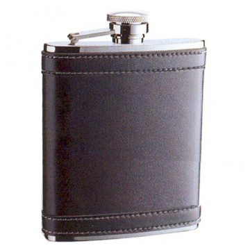 Hip Flask Artex Stitched Leatherette Wrap-Around Centre Panel - 6oz.