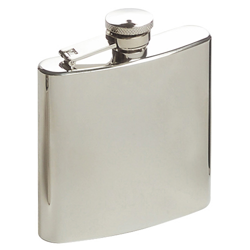 Hip Flask Artex Plain High Polish Chrome - 6oz.