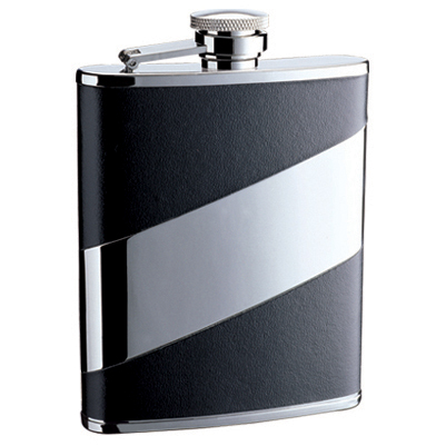 Hip Flask Artex Black Leatherette Cut-out Panel on High Polish Chrome Background - 6oz.