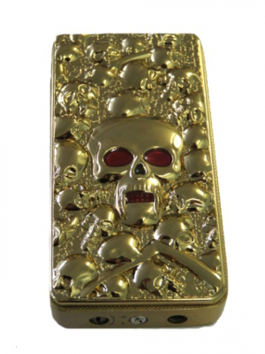 Gas Lighter Single Jet Red Flame with Skull in Gold
