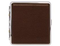 Cigarette Case Metal - Large Size - Brown Leatherette Finish - Range 8220