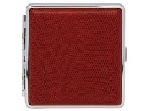 Cigarette Case Metal - Large Size - Red Leatherette Finish - 8220 Range
