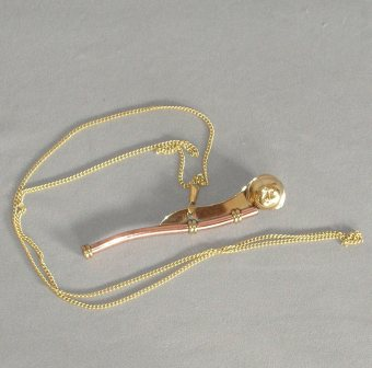 Brass Bosun's Whistle on a Chain (130mm).
