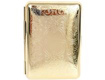 Cigarette Case Metal - Small Medium Size - Arabesque Pattern Gold Anodised Finish - 101 Range