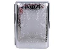 Cigarette Case Metal - Small Medium Size - Silver Arabesque Finish - 101 Range