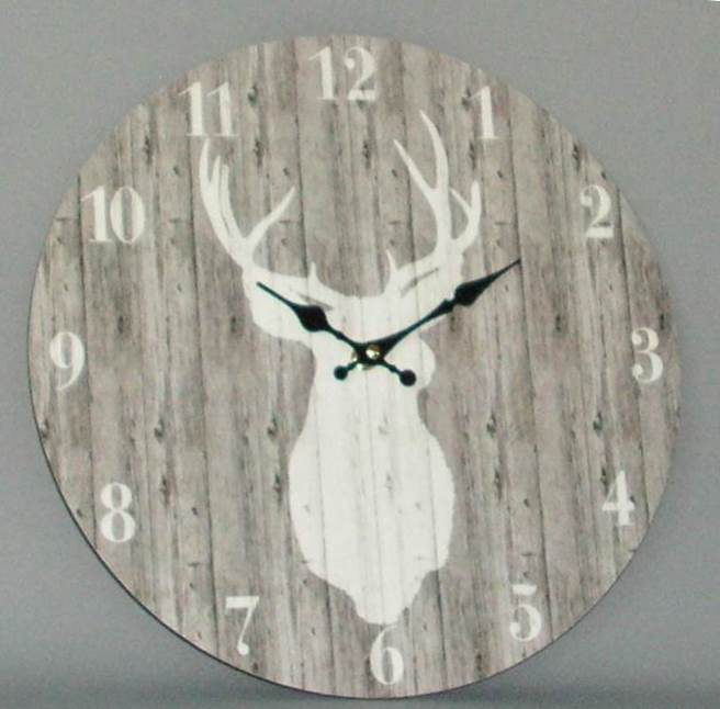Wooden Stag Clock (60cm Diameter)