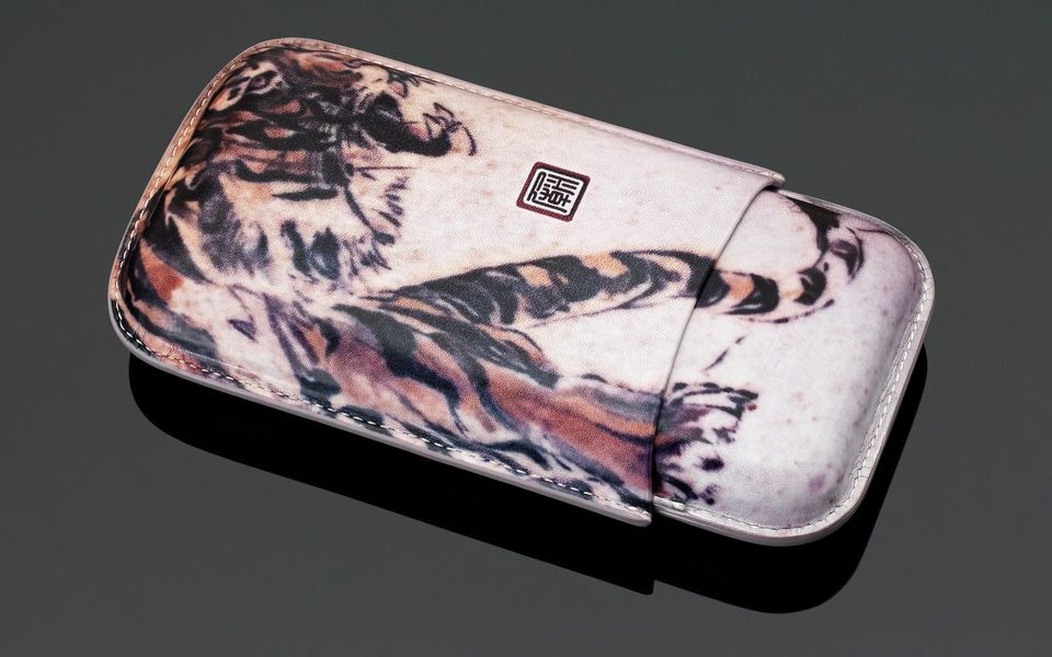 Tattoo Leather Cigar Case (3 Sticks) - Tiger