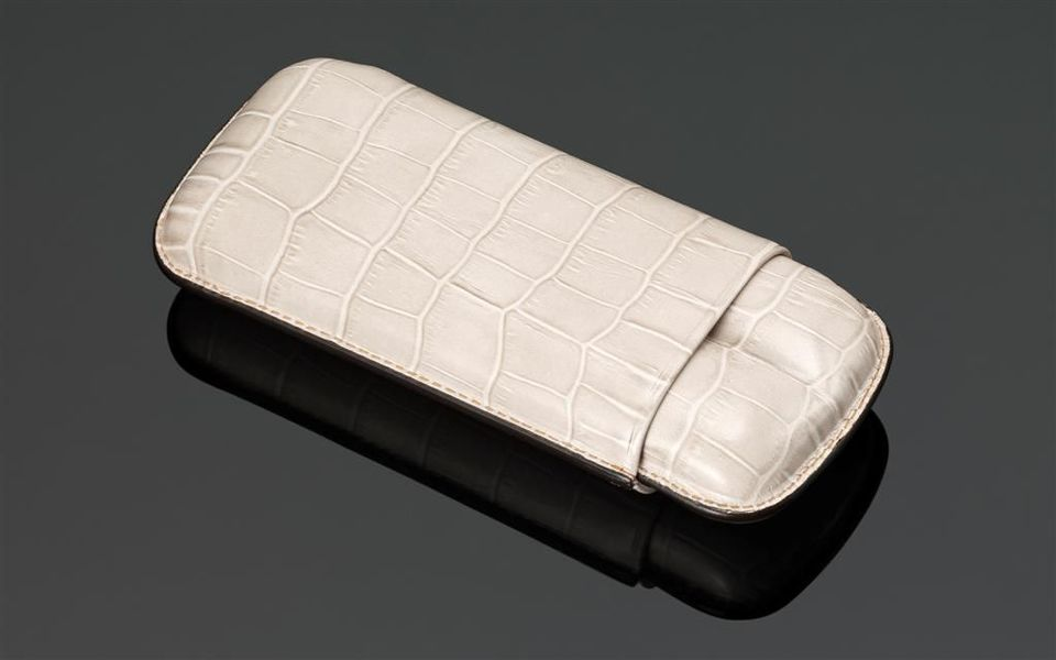 Crocodile Skin Print Leather Cigar Case (2 Sticks) - Cream