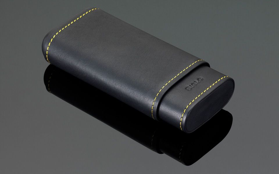 Stitches Leather Cigar Case - Yellow Stitching