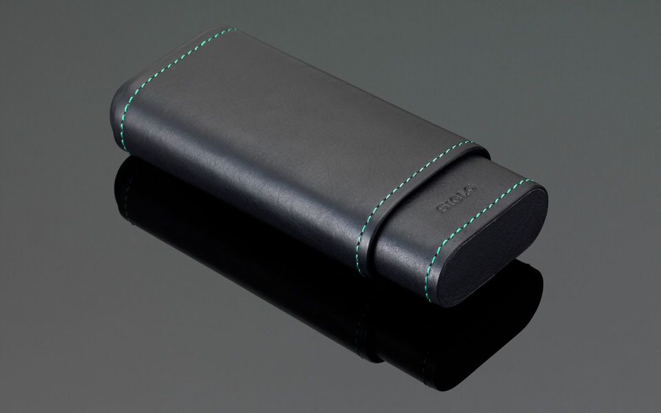 Stitches Leather Cigar Case - Green Stitching