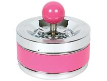 Spinning Ashtray Chrome (Medium Round) Pink Band - 12cm Diameter
