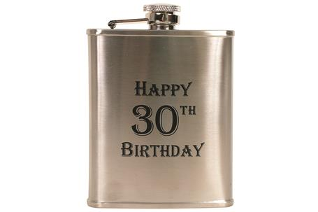 Hip Flask Coyote Polished Chrome Engraved 'Happy 30th Birthday' 6 oz