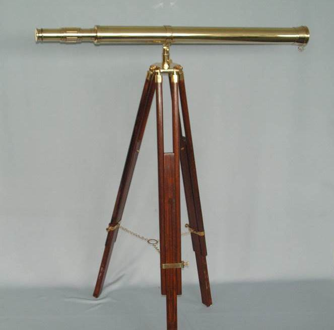 Brass Telescope on Wooden Tripod with Brass Fittings (1 m high)
