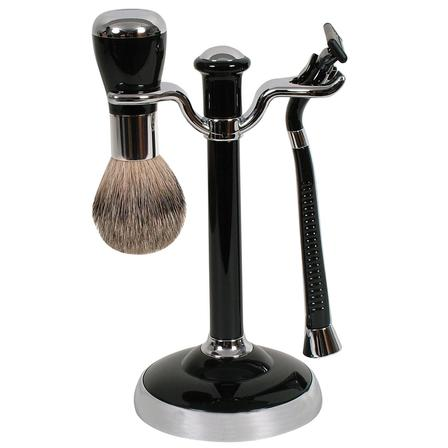 Comoy WG Shave Set Black/Chrome - Soft Touch Brush