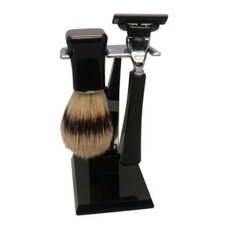 Comoy 3087 Mach 3 Shave Set Bristle - Black