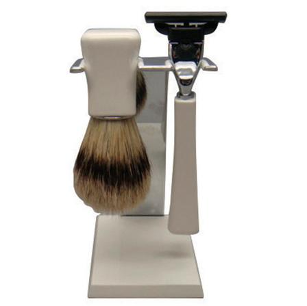 Comoy 3087 Mach 3 Shave Set Bristle - White