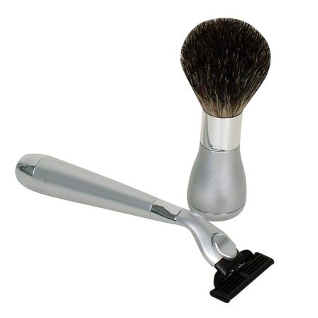 Comoy 2-Piece Box Set Bristle Brush, Mach 3 Razor - Pewter/Chrome
