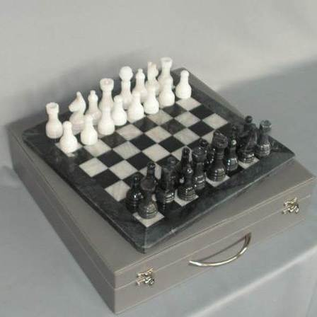 Marble Chess Set - Black and White on 12 inch Board - Leatherette Case