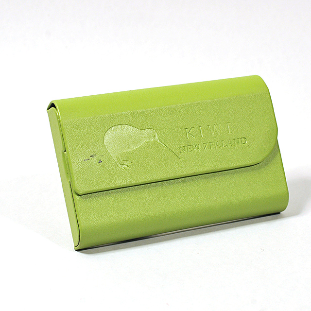 Card Holder Metal Green Leatherette Half Flap Embossed Kiwi