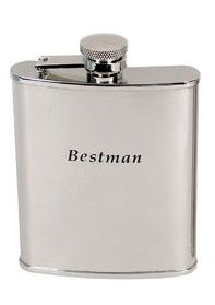 Hip Flask Coyote Polished Chrome Engraved 'Bestman' 6 oz